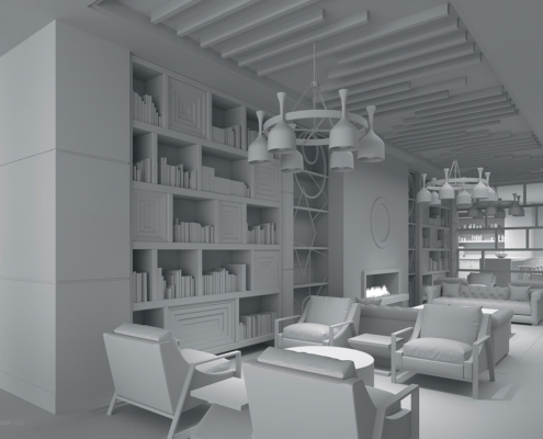 818003 Digital Photorealistic Architectural Rendering White Model of The Roosevelt Library Hotel for Beasley and Henley