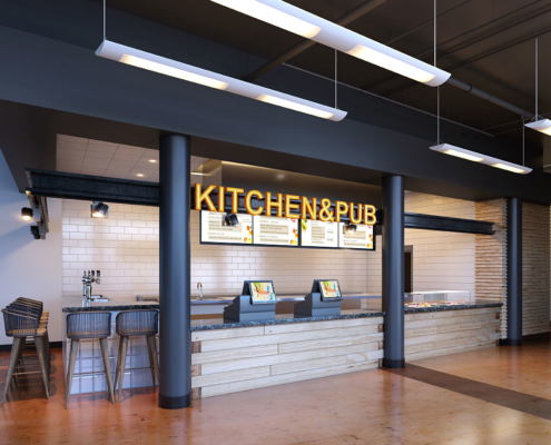 818007 Digital Photorealistic Architectural Renderings of Kitchen & Pub for Shea Design