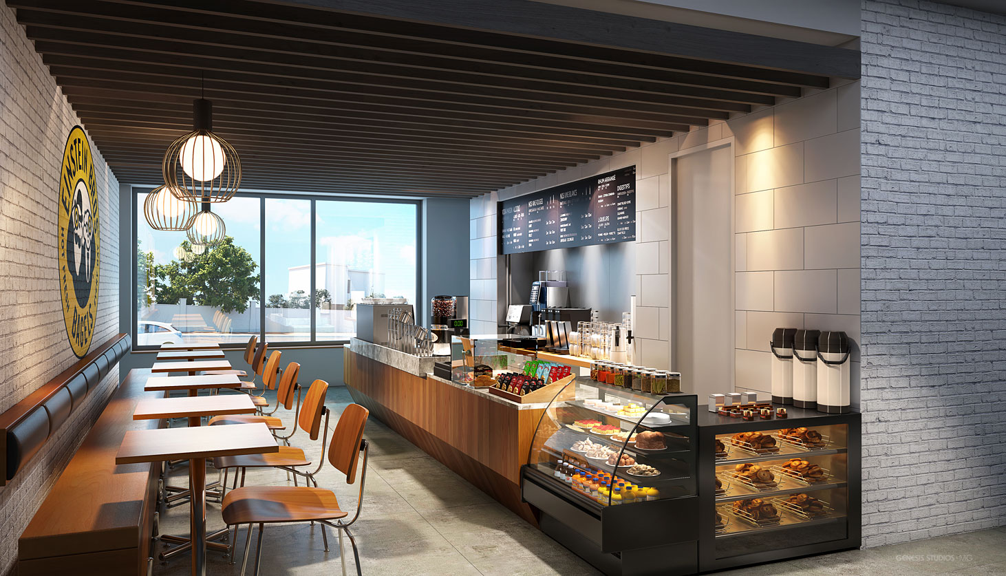 818007 Digital Photorealistic Architectural Renderings of Einstein Bros Bagels for Shea Design