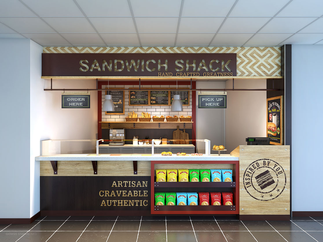 818007 Digital Photorealistic Architectural Renderings of Sandwich Shack for Shea Design