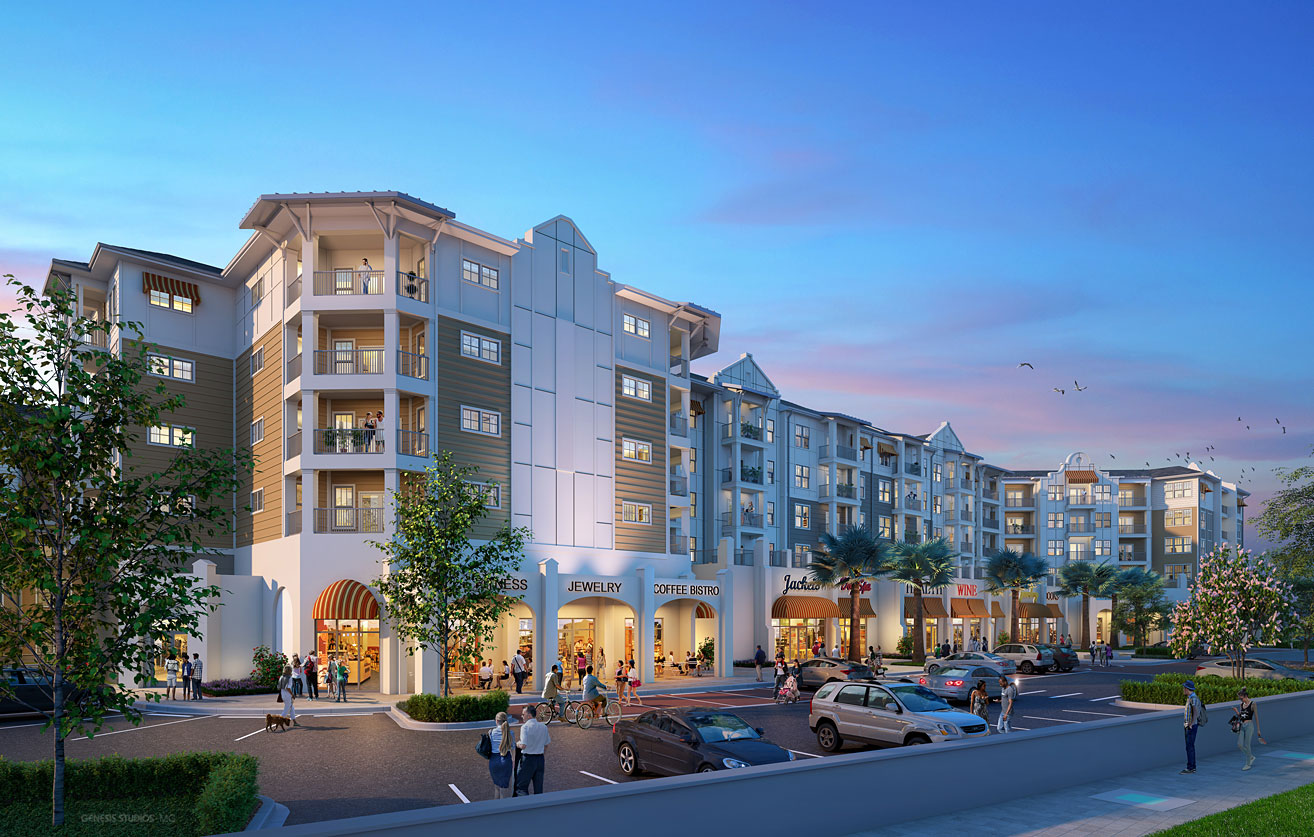 818010 Digital Photorealistic Architectural Renderings of Camden Maitland at Dusk for Camden Land Partners