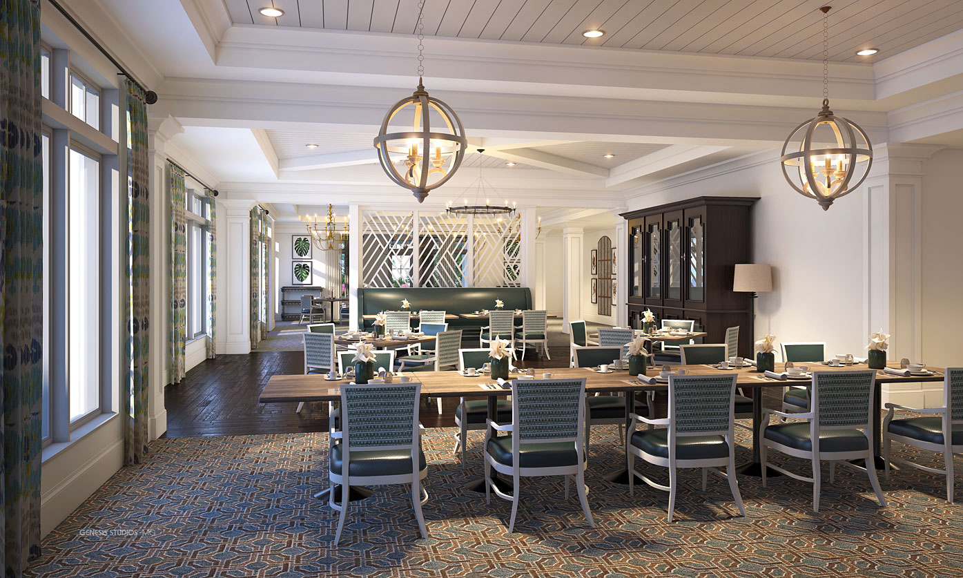 818015 Digital Photorealistic Architectural Rendering of Hobe Sound Casual Dining for Senior Lifestyle Corporation