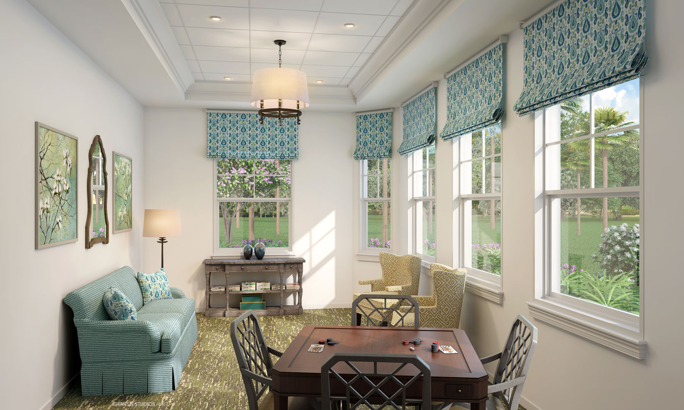 818015- Digital Photorealistic Architectural Rendering of Hobe Sound Family Room for Senior Lifestyle Corporation
