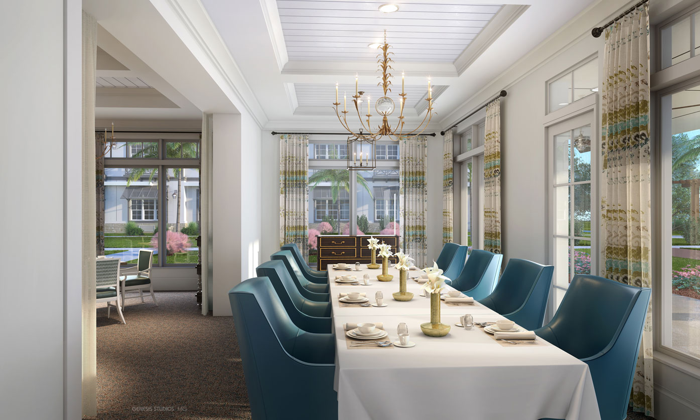 818015- Digital Photorealistic Architectural Rendering of Hobe Sound Private Dining for Senior Lifestyle Corporation