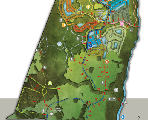 818017 Digital Watercolor Site Plan of Shearwater Trail Map for Freehold Capital Services