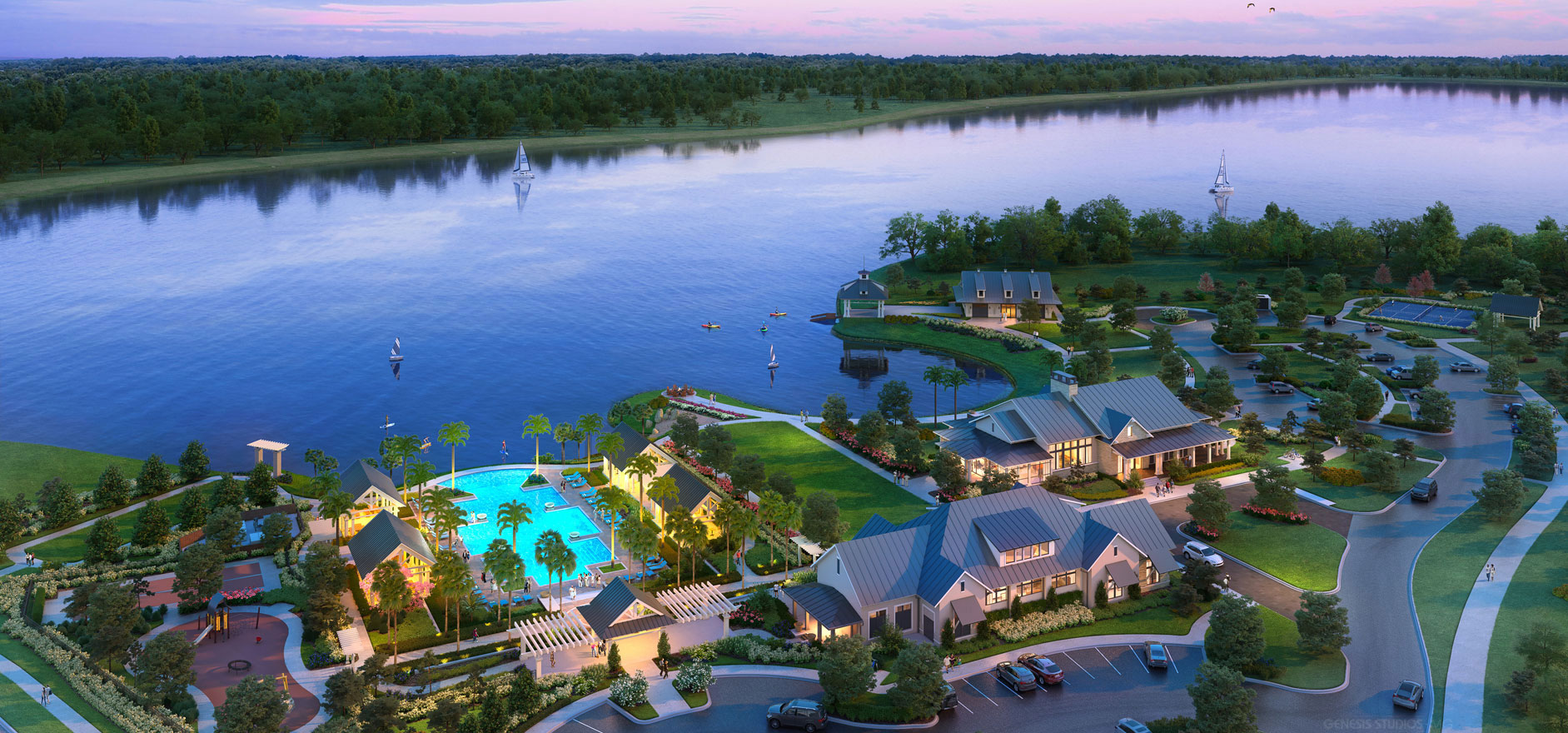 3D Hospitality Renderings of Lake House Cove from an Aerial View for Pace Advertising