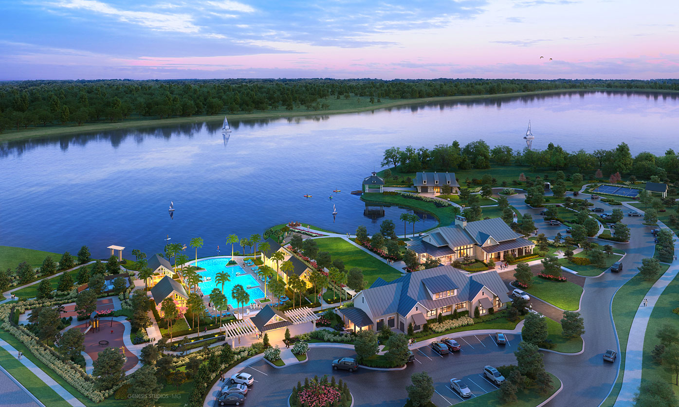 Digital Photorealistic Architectural Renderings of Lake House Cove from an Aerial View for Stalder Pace Advertising