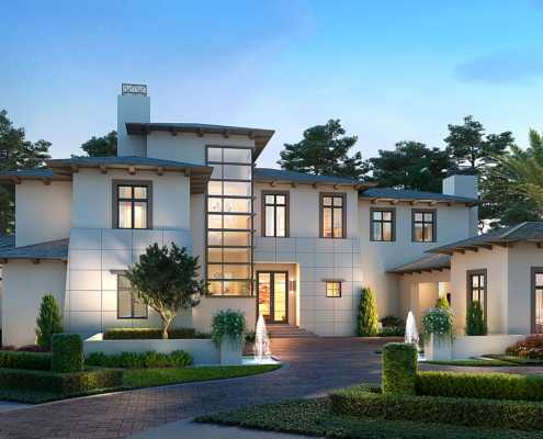 Digital Photorealistic Architectural Renderings of Single Family Home Lot 26 at Dusk for Four Seasons Private Residences