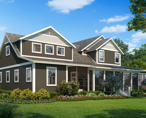 818044 Digital Photorealistic Architectural Renderings of Lynchburg Backyard for The Grove