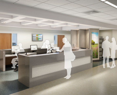 818065 Digital Photorealistic Architectural Renderings of Baptist Health Outpatient Surgery Center Nurses Station for Hunton Brady Architects