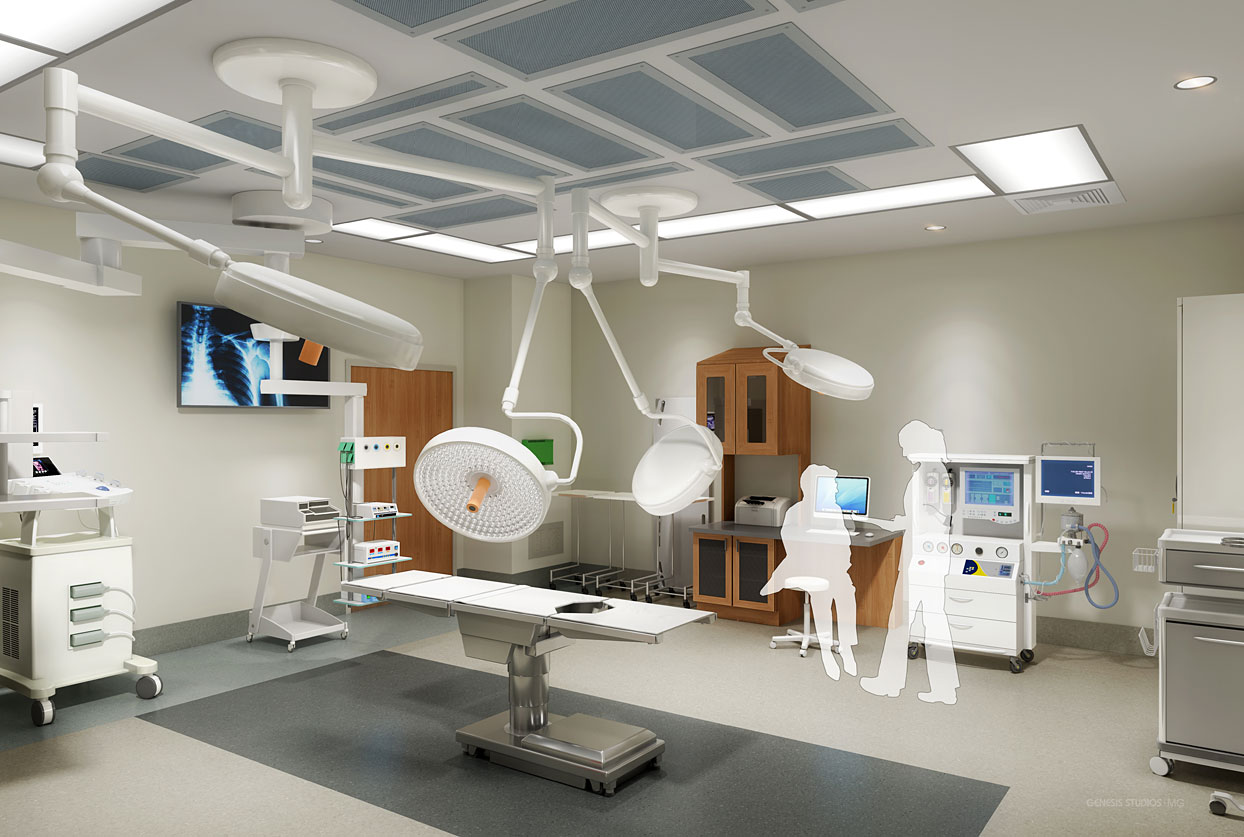 818065 Digital Photorealistic Architectural Renderings of Baptist Health Outpatient Surgery Center Operating Room for Hunton Brady Architects
