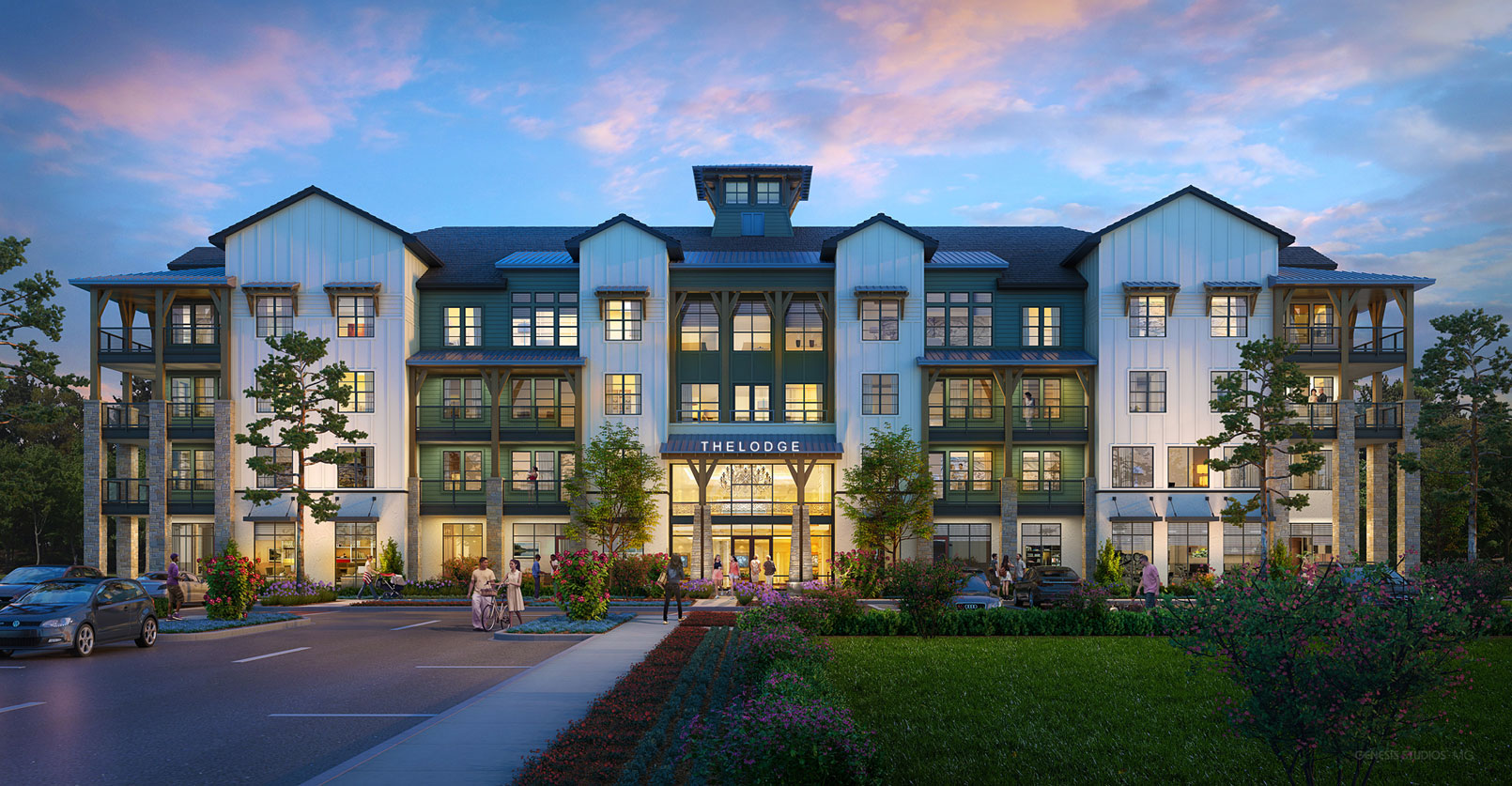 818082 Digital Photorealistic Architectural Renderings of The Lodge at Hamlin Leasing Building for Charlan Brock Associates