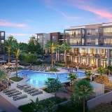 818086 Digital Photorealistic Architectural Renderings of Vista Apartments Pool at Dusk for Epoch Residential