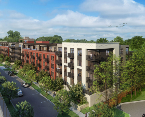 818091 Digital Photorealistic Architectural Renderings of Crescent at Chevy Chase from an Aerial View for The Eisen Group