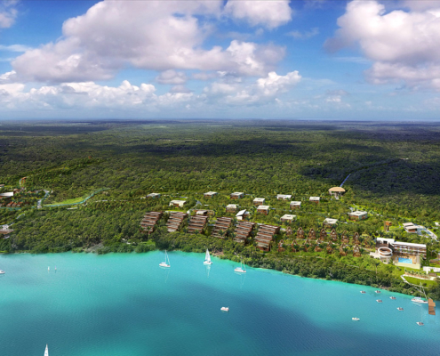 Digital Architectural Renderings of Bacalar Beach Resort from an Aerial View for CallisonRTKL