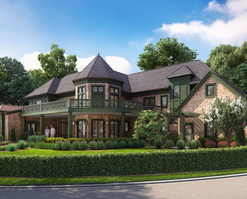 Digital Architectural Renderings of Troy House Single Family Home Front Yard for Doug Peix Architect