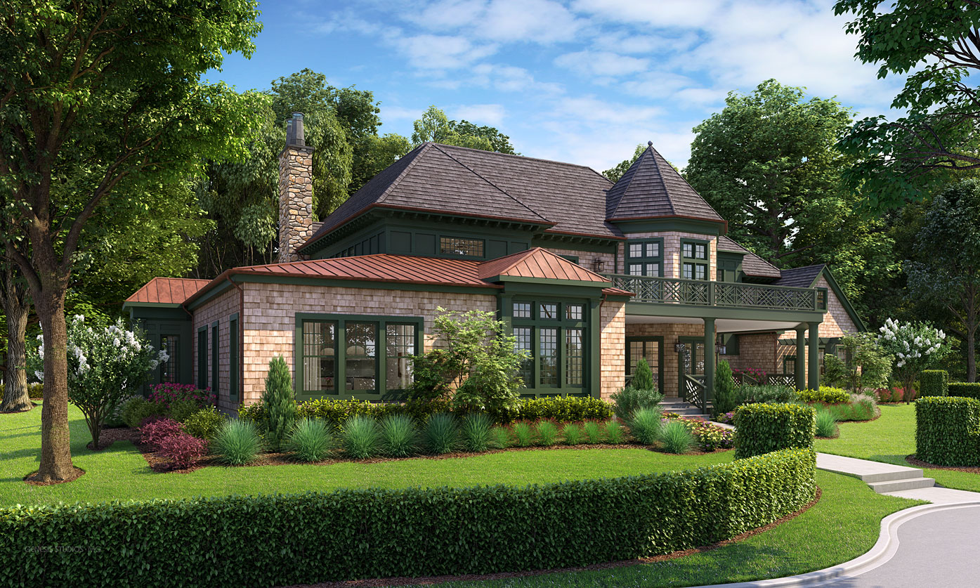3D Architectural Renderings of Troy House Single Family Home Side Yard for Doug Peix Architect