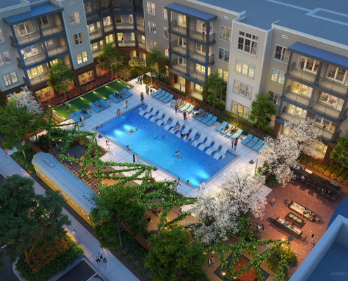 818131 Digital Photorealistic Architectural Renderings of Bluebird Row Pool at Dusk from an Aerial View for LIV Development Company