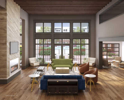 818138 Digital Photorealistic Architectural Renderings of Bluebird Row Clubhouse Interior for LIV Development Company