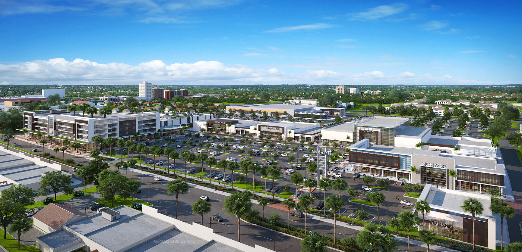 818143 Digital Photorealistic Architectural Renderings of North Miami Mall from an Aerial View for CallisonRTKL
