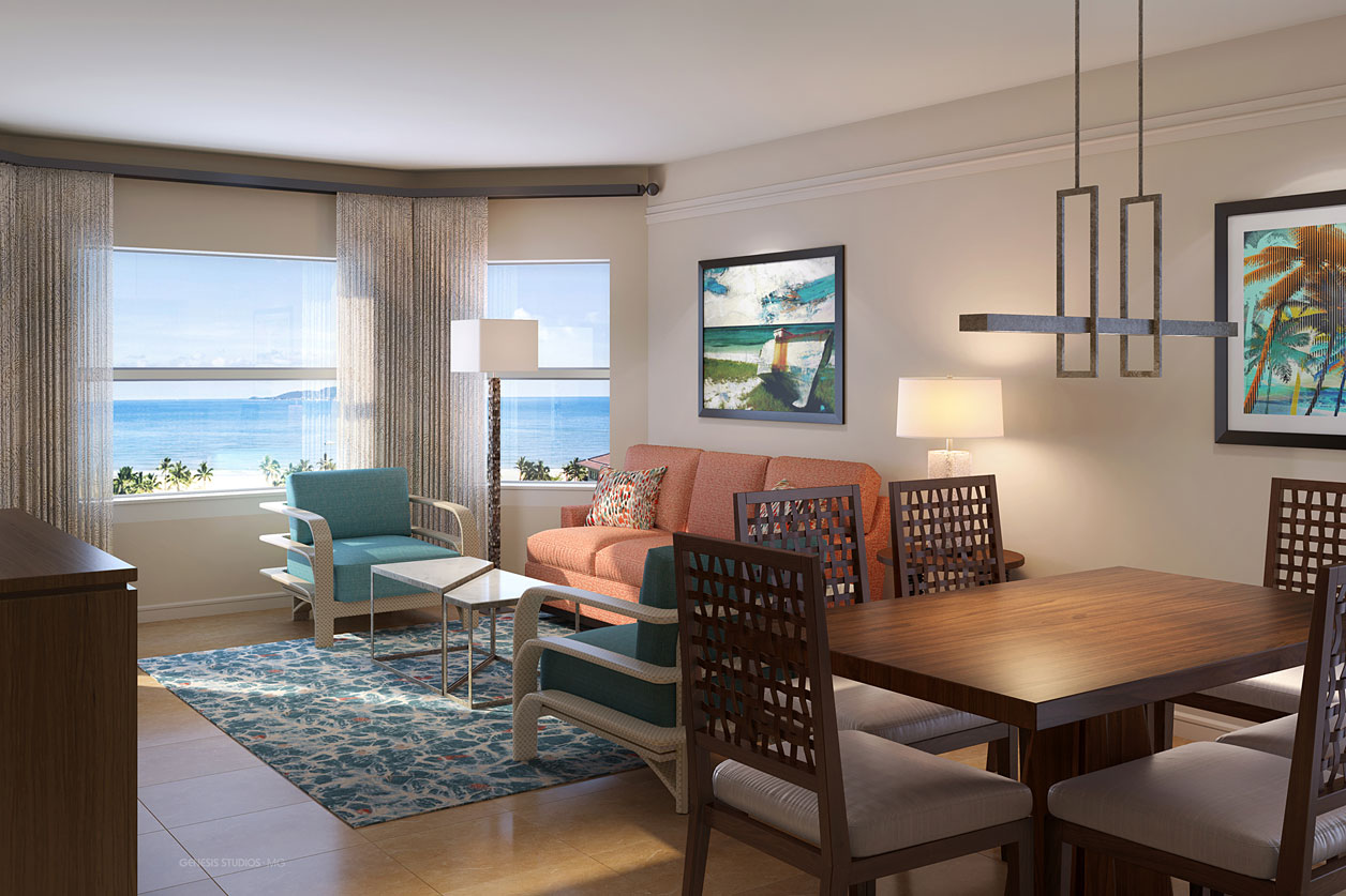 Digital Photorealistic Architectural Renderings of Marriott Aruba Surf Living and Dining Rooms for Neimann Interiors