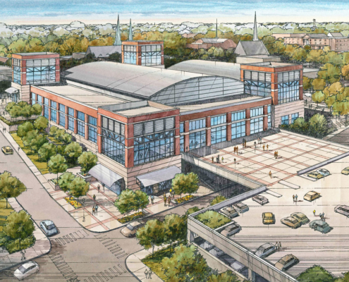 818171- Pen and Ink with Watercolor Rendering of Clarksville Exterior for Convergence Design