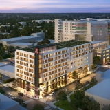 818261 Digital Photorealistic Architectural Rendering of Project Heart Exterior Aerial View at Dusk for Paradym Studio