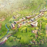 Digital Watercolor Architectural Rendering of Hanover from an Aerial View for DMR Architects