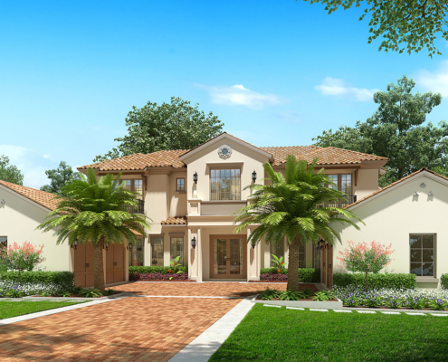 616166 Digital Photorealistic Architectural Renderings of Lot 119 Front Yard for Isleworth Realty
