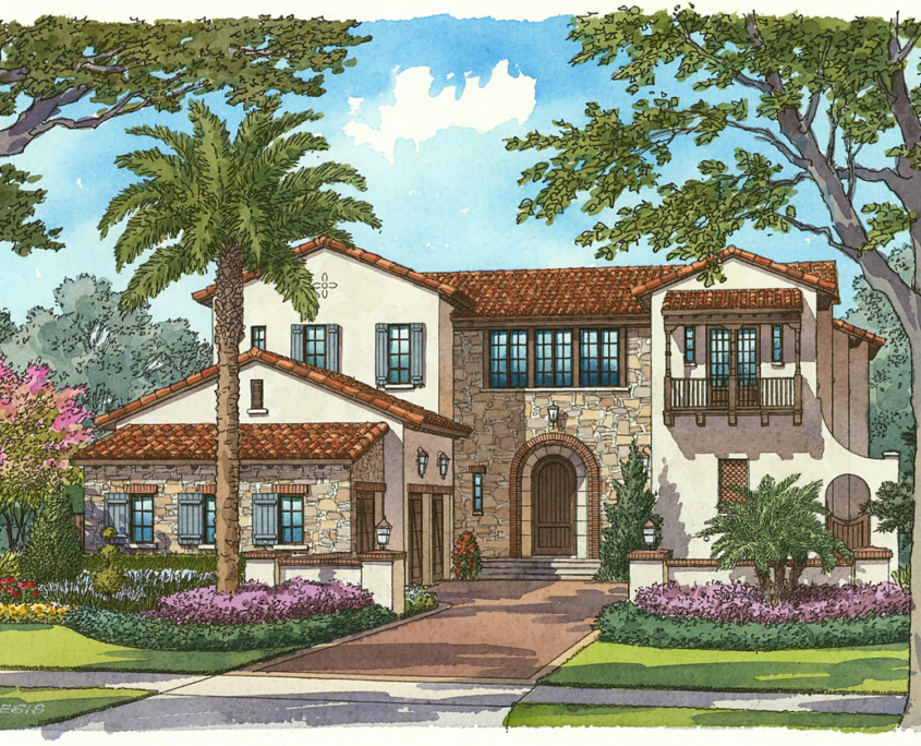 Watercolor Hand Illustrated Renderings of Marceline Single Familly Home for Cahill Homes