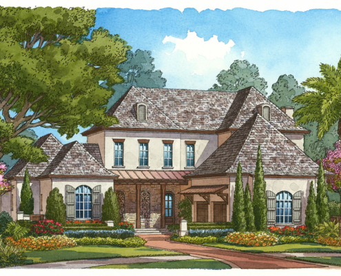 Watercolor Architectural Renderings of Somerset French Single Familly Home for Cahill Homes