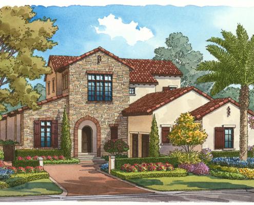 Watercolor Architectural Renderings of Mediterranean Villa Single Family Home for Goehring & Morgan Construction