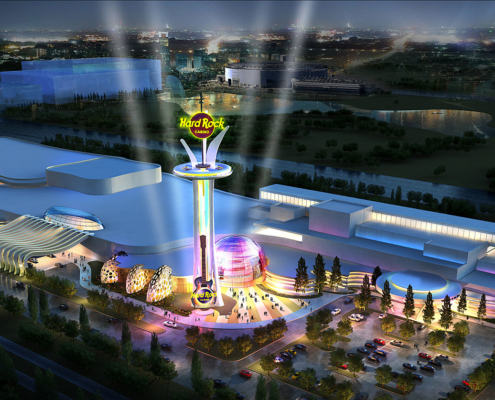 Digital Photorealistic Architectural Rendering of Hard Rock Casino Meadowlands from an Aerial View at Nighttime