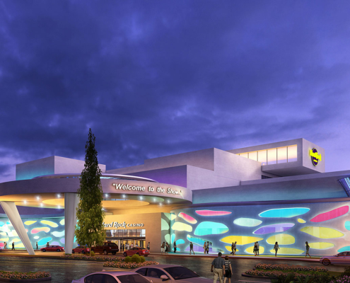 Digital Photorealistic Architectural Rendering of Hard Rock Casino Meadowlands Entrance at Dusk