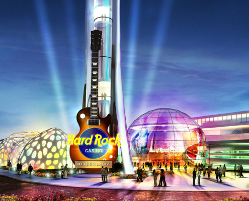 Digital Photorealistic Architectural Rendering of Hard Rock Casino Meadowlands Front at Nighttime