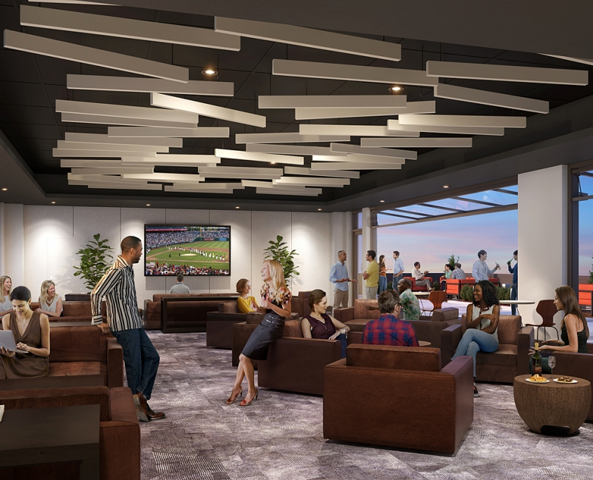717193 Digital Photorealistic Architectural Renderings of an Indoor and Outdoor Lounge for Eisen Group