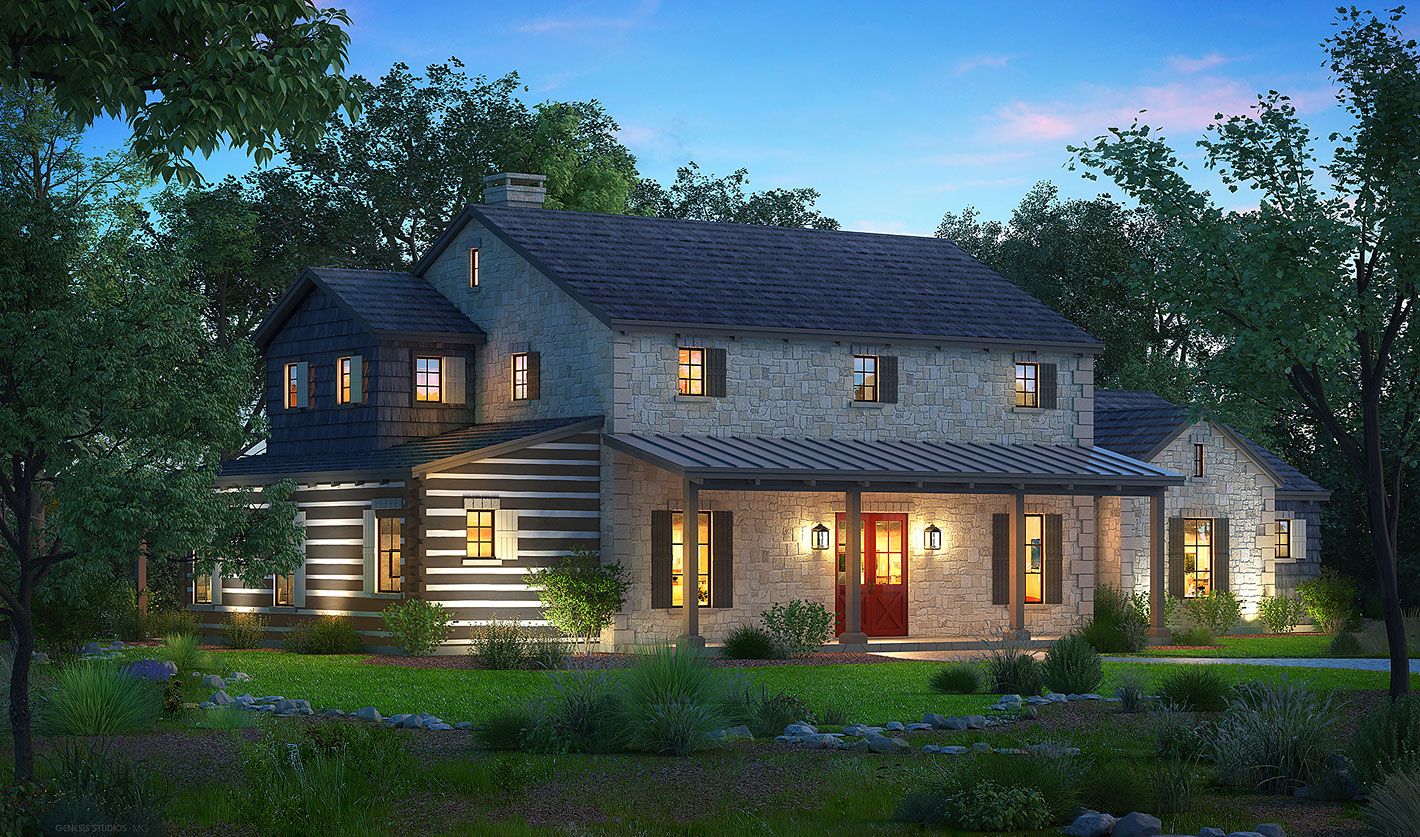 616056 Digital Photorealistic Architectural Renderings of Boot Ranch Barons Country Home for Wheelock Communities Front Yard at Dusk