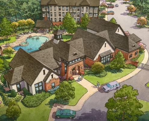 Pen & Ink with Watercolor Architectural Renderings of Chenal from an Aerial View for Charlan Brock Associates