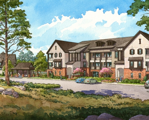 Pen & Ink with Watercolor Architectural Renderings of Chenal at an Eye Level View for Charlan Brock Associates