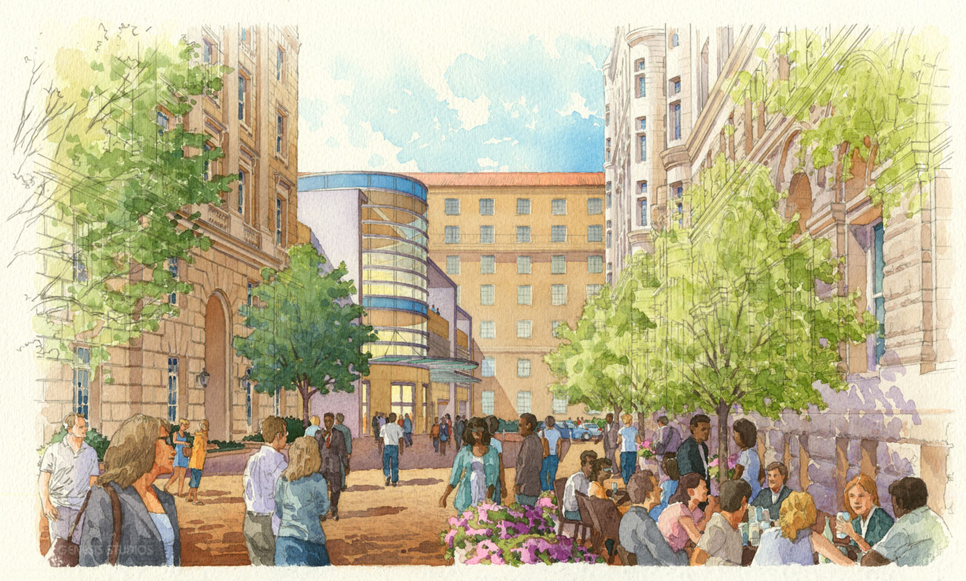 111040 Watercolor Architectural Rendering of Old Post Office Courtyard for Cooper Carry