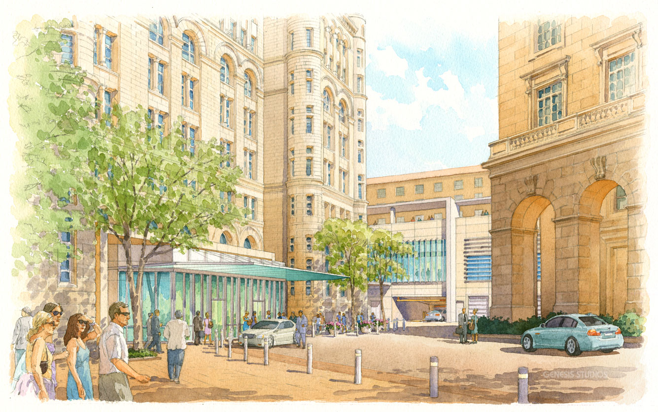 111040 Watercolor Architectural Rendering of Old Post Office Entry for Cooper Carry