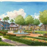 111064 Watercolor Architectural Rendering of Laureate Park for Lake Nona Property Holdings