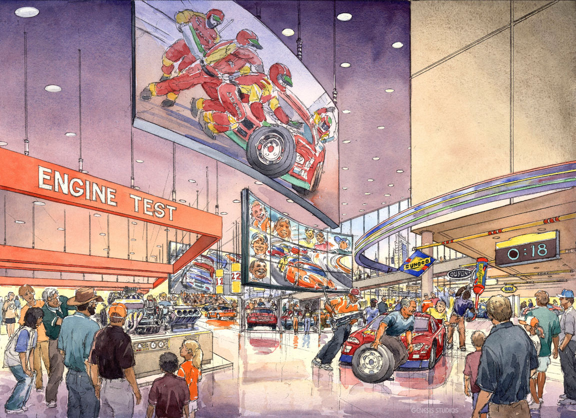 15136 Watercolor Architectural Rendering of NASCAR Engine Test for Morris Architects