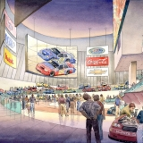 15136 Watercolor Architectural Rendering of NASCAR Entrance for Morris Architects