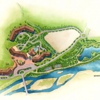 15266 Site Plan Architectural Rendering of South Peak Resort Aquatic Village at Loon Mountain for Centex