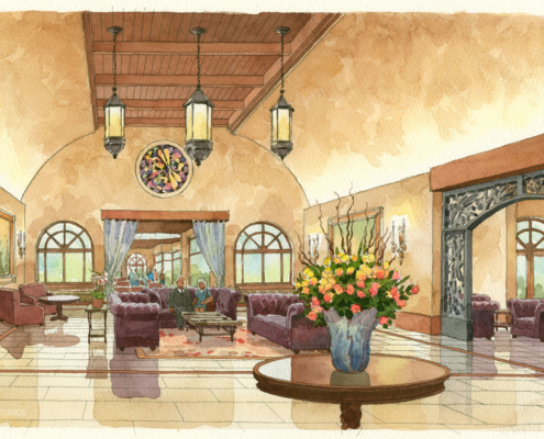 212008 Watercolor Architectural Rendering of Alfond Inn Interior Lobby for Baker Barrios Architects