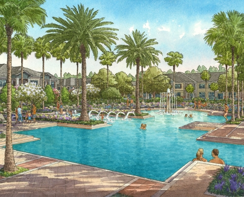 Pen & Ink with Watercolor Architectural Rendering of Palmetto at Oakleaf for Ervin Lovett Miller