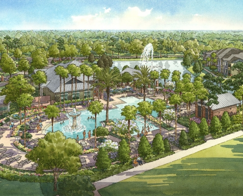 Pen & Ink with Watercolor Architectural Rendering of Palmetto at Oakleaf from an Aerial View for Ervin Lovett Miller