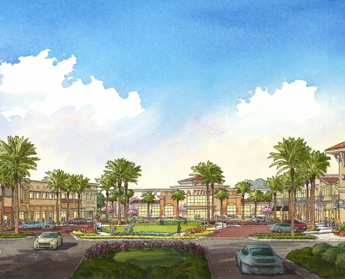 Pen & Ink with Watercolor Architectural Renderings of The Grove Mall for Tavistock Development Company