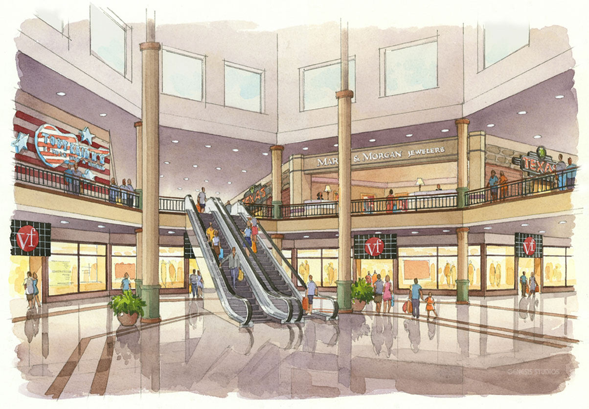 313048 Watercolor Architectural Rendering of Savannah Mall for Urban Retail Properties